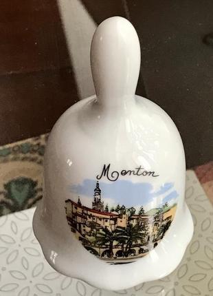 Франция. столовый фарфоровый колокольчик с фото города ментон. винтаж.