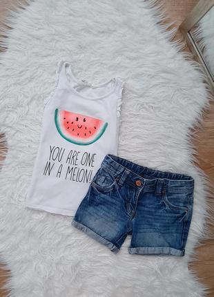 Набор на девочку джинсовые шорты бойфренд и маечка с арбузом
