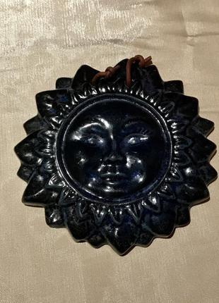 """Настенный декор """"солнце"""". керамика глазурь, ручная работа, греция, винтаж 1990 г"""