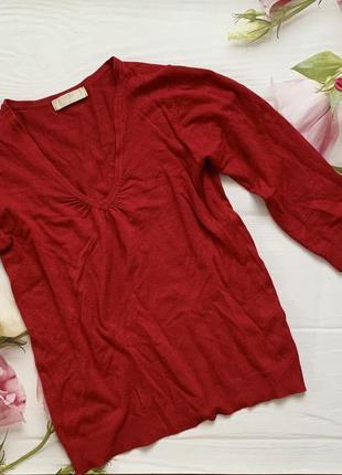 Красный свитер, красная кофта, лонгслив, свитер с вырезом