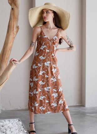 Платье-комбинация с цветочным принтом, размер s-xl