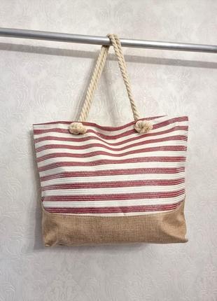 Красивая летняя пляжная городская сумка полоска красная