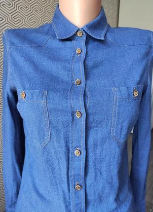 Рубашка темно синяя под джинс 100% коттон massimo dutti оригинал размер 36