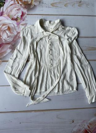 Шикарная молочная рубашка с рукавом вискоза