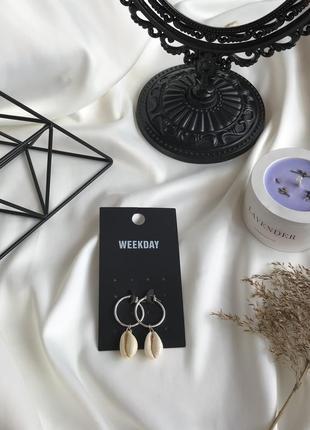 💕акція 1+1=3 стильні сережки з мушлями , серьги с ракушками 🌿з сайту asos