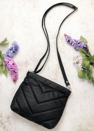 Брендовая черная женская стильная сумка через плечо