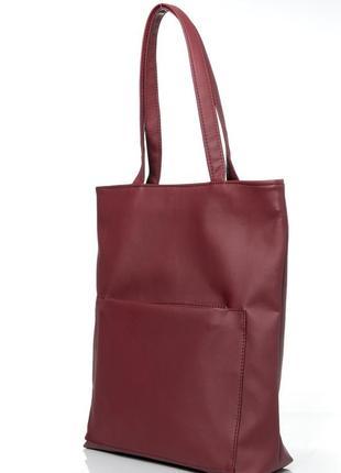 Cтильный женская бордовая вместительная  сумка-шопер