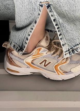 New balance gold grey женские кроссовки золото/бежевые/серые