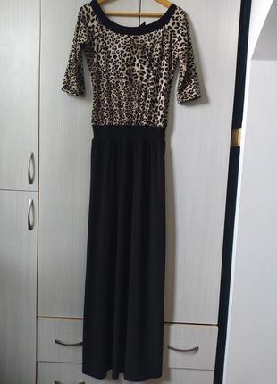 Платье в пол черное с леопардовой расцветкой