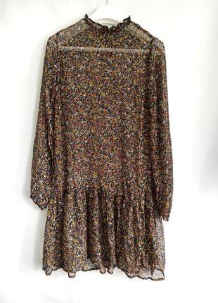 Шифоновое прозрачное платье в цветочный принт