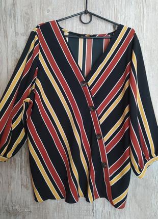 Красивая блузка в полоску f&f размер 20