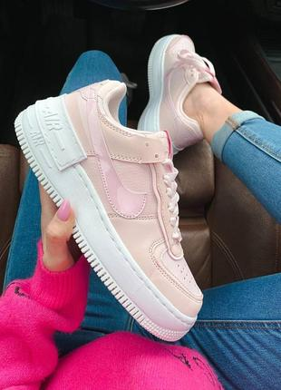 Air force 1 shadow reflective pink женские розовые рефлективные светящиеся кроссовки найк / рожеві жіночі рефлективні кросівки