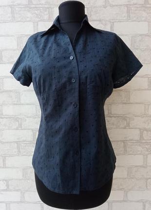 Винтажная рубашка блуза с коротким рукавом шитье