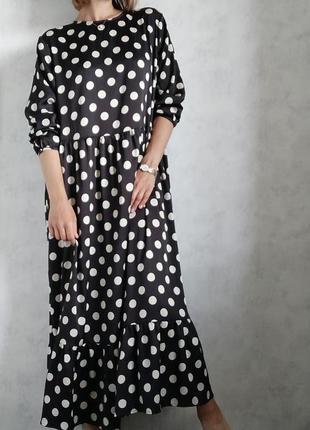 Макси миди платье сарафан в горох h&m