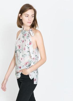Блуза zara белая разноцветная цветочный принт розовые цветы
