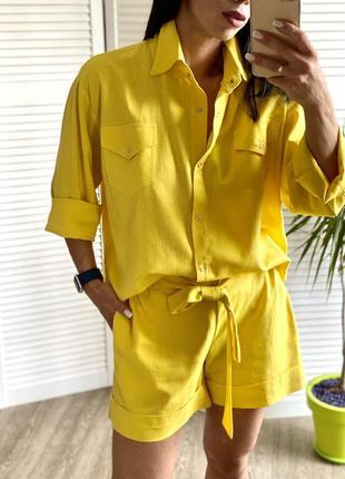 Льняной костюм люкс-качества(рубашка+ шорты)