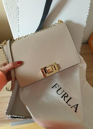 Женская классическая кожаная сумочка furla mimi mini crossbody
