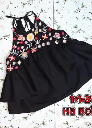 🎁1+1=3 стильная черная блуза вышиванка zara, размер 42 - 44