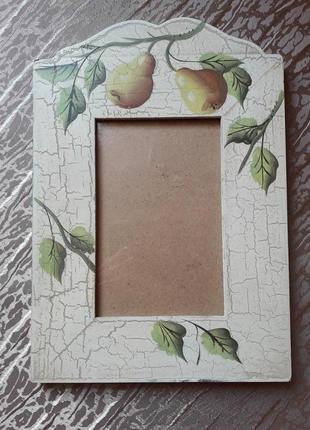 Рамка для фотографии фрукты, техника декупаж размер рамки 26,5 х 18,5 см., размер фото 9,5х14 ,5 см