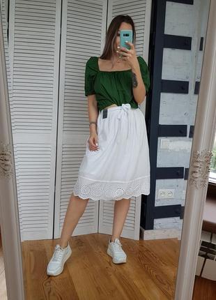 Белая юбка с прошвой бродери