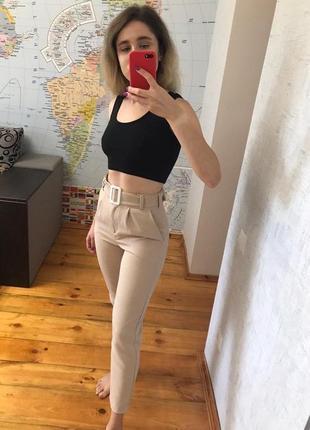 Бежевые брюки повседневные штаны женские беж2 фото
