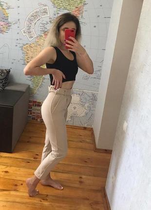 Бежевые брюки повседневные штаны женские беж4 фото