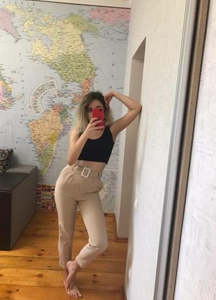 Бежевые брюки повседневные штаны женские беж5 фото