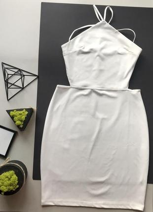 👗стильное белое платье миди на завязках/белое неопреоновое платье миди с вырезами на талии👗