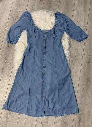 Шикарное джинсовые платье с рукавами фонарики zara