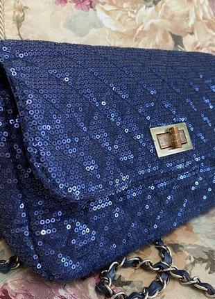 Сумка, сумочка atmosphere, синяя с паетками