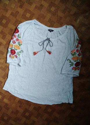 Рубашка блуза вышиванка батал большой размер ulla popken ☕ 64-66рр