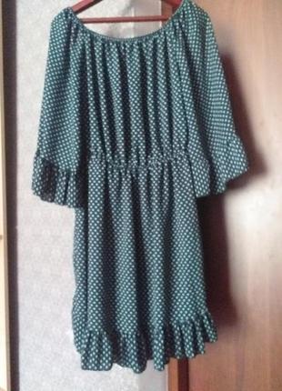 Плаття зелене в горох