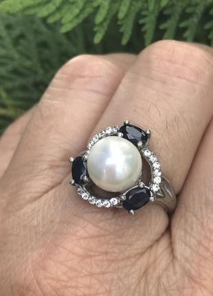 Кольцо серебряное с натуральным сапфиром, размер 17.5