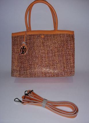 Новая кожаная персиковая сумка