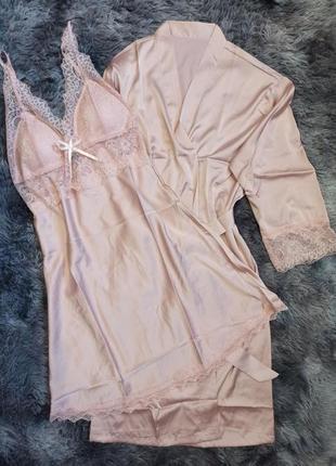 Изящный нежный кружевной атласный комплект халат и пеньюар с поролоновыми чашками, мягкий романтический комплект ночная рубашка и халат атлас