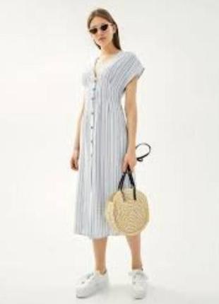 Новое платье миди в полоску р.s/m bershka