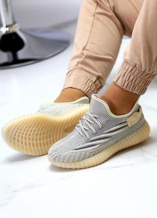 Комфортные  бежевые текстильные тканевые женские кроссовки  изи в ассортименте