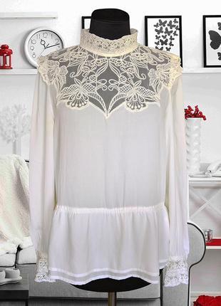 Блуза с кружевом в винтажном стиле h&m