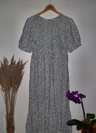 Ярусное миди платье  /натуральное платье цветочный принт