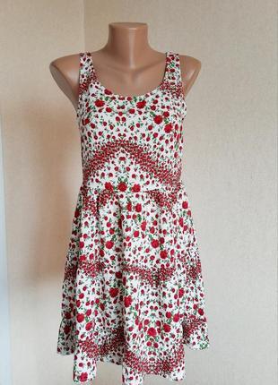 Летнее платье h&m сарафан сукня цветочный открытая спинка оголенная спина xs вискоза пляжное многоярусное