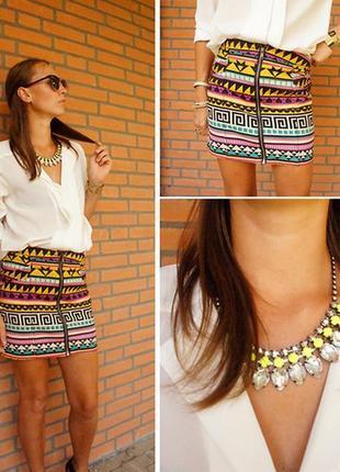 Разноцветная коттоновая юбка на молнии спереди ацтек принт