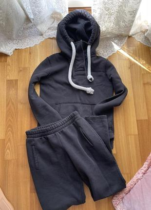 Спортивный костюм чёрный худи толстовка на флисе тёплый zara