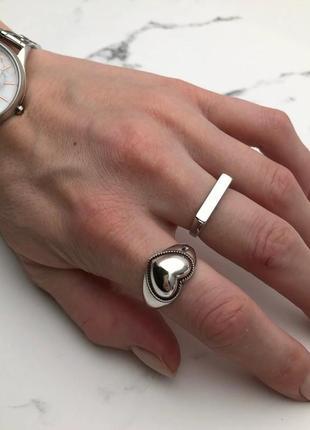 Кольцо сердце серебро 925 покрытие колечко сердечко посеребрянное