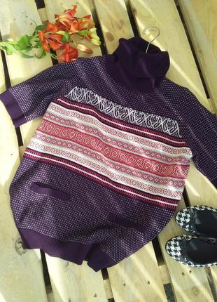 Стильный свитшот свитер под горло с этно принтом шерсть шелк rundholz annette gortz