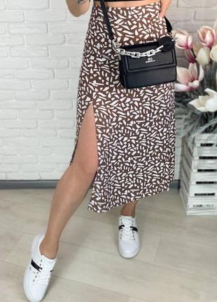 Юбка штапель юбка миди, с разрезом.8 фото