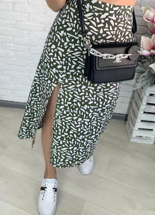 Юбка штапель юбка миди, с разрезом.1 фото