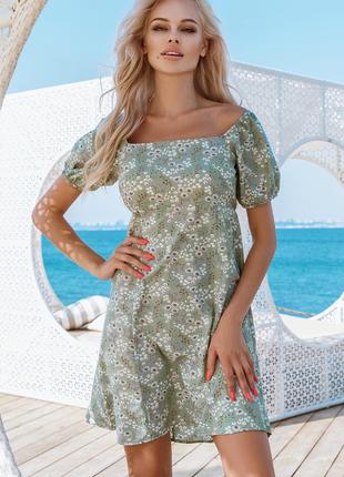 Платье принт цветочный голые плечи летнее фисташка красивое