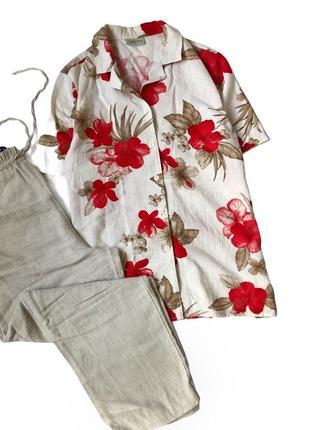 Льняная рубашка в цветы
