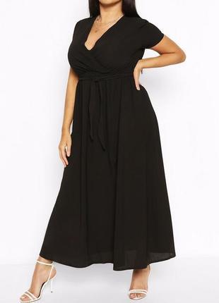 Шикарне чорне плаття максі plus size boohoo