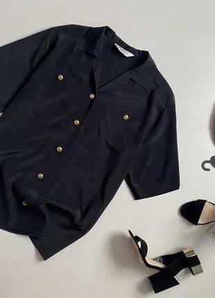 Роскошная шелковая рубашка с золотой фурнитурой 100% натуральный шелк marella